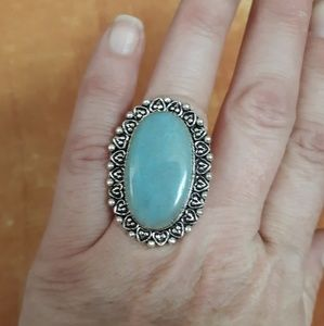 New Larimar Silver Ring. Size 8
